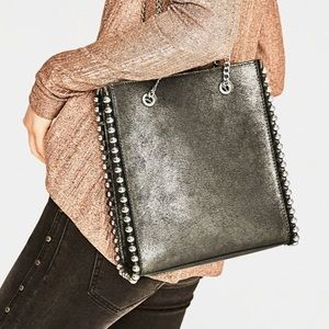 Zara Studded Chain Tote Bag
